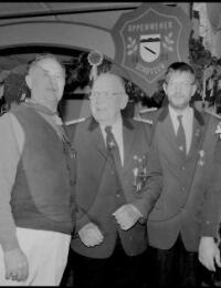 5 der 6 Oppenweher Tambourmajore v. li. Norbert Hagedorn, Wilhelm Martens(V), Wilhelm Marwell(V), Hartmut Hodde und Heiner Meier.